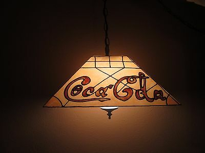COCA COLA...VINTAGE HANGING WITH WHITE GLASS GLOBE..LIGHT..12ft CORD