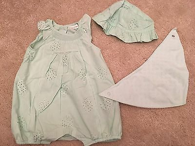 Next Baby Girls Pale Green Romper Suit With Hat & Bib - 3-6 Months - Immaculate