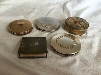 4 x Powder Compacts & A Margaret Rose Trinket Box