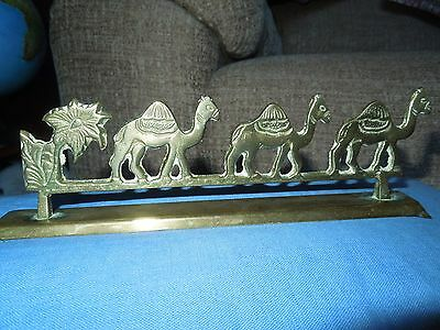 Brass Ornament. 3 Camels and Palm Tree.