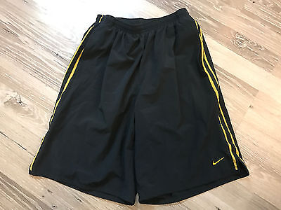Mens Small S Nike Dri-Fit Athletic Shorts Black W/ Yellow Guc ~ Free Shipping