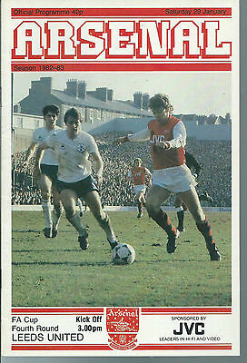 Arsenal Vs Leeds United Football Programme,f.a.cup Fourth Round,january 29 1983