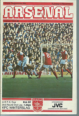 Arsenal Vs Kfc Winterslag Football Programme,uefa Cup 2Nd Round,november 3 1981