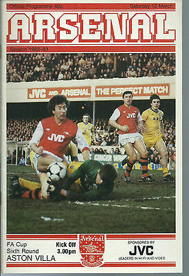 Arsenal Vs Aston Villa Football Programme,f.a.cup Sixth Round,march 12 1983