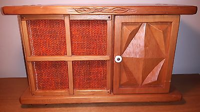 Vintage Mint Sony serviced TFM9450W AM/FM table radio in unique carved cabinet