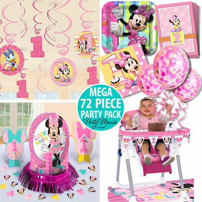 Girl 1St Birthday Party Supplies Minnie Mouse Pack 72 Pc Value Decorations