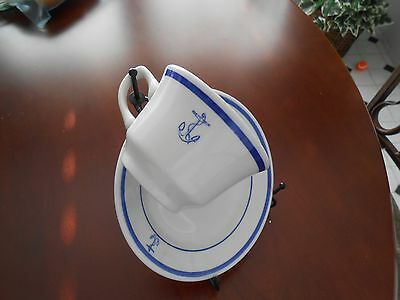VintageNavy Cup Saucer Fouled Anchor WWII  Officers Mess 10 sets