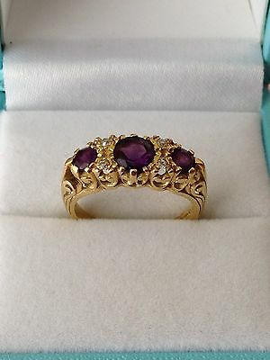 Stunning 18ct Gold Diamond and Amethyst Ring - Gypsy Ring Victorian Style Size N