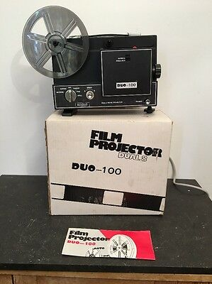 Vintage Dual 8 Film Projector Duo-100 - Boxed - Super 8mm & Standard 8mm