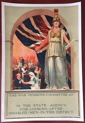War Pensions Committee - Original 1916 Wwi British Lb Poster - Disabled Vets