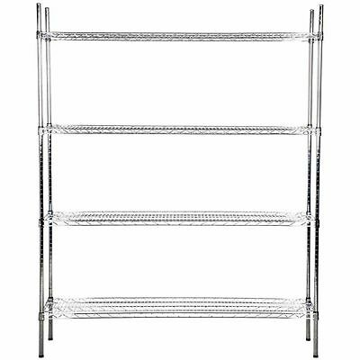 "Heavy Duty 18"" x 60"" x 74"" Silver Chrome Wire Storage Shelf Rack Kit Commercial"