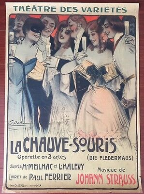 La Chauve Souris - Original 1904 French Theatre Lb Poster - Georges Dola Art!