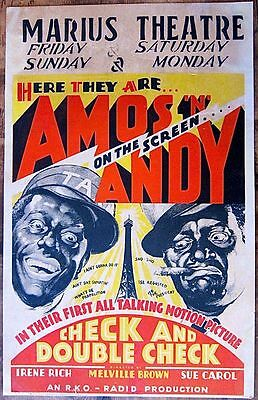 Check And Double Check - Original 1930 Window Card Poster - Amos N Andy Talkie!
