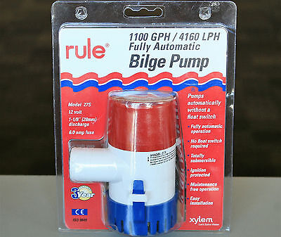 "RULE 27S 12V 1.125"" 3.3A 1100 GPH 4160LPH Bilge Pump Fully Automatic Submersible"