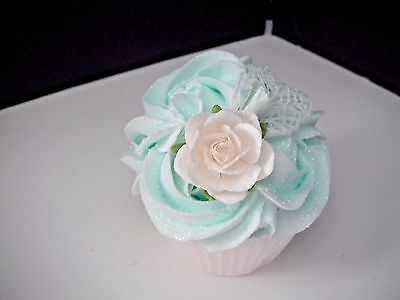 FAKE CUPCAKE - Shabby Cottage - Pale Aqua Rose Swirl with Rose & Lace Leaf