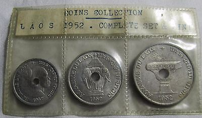 Laos 1952 3 Coin Set 10, 20, & 50 Cents Uncirculated