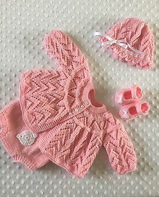 Hand Knitted, Reborn, Baby Or Dolls Outfit 20 inches