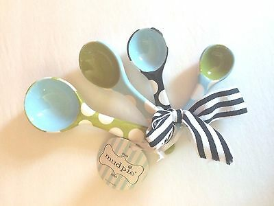 Mud Pie Polka Dot Ceramic Measuring Spoons NWT Kitchen Gadgets