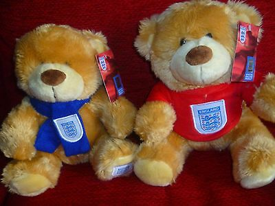 2 England  Teddy Bear NEW & Tagged Wearing 3 Lions Tee Shirt and scarf