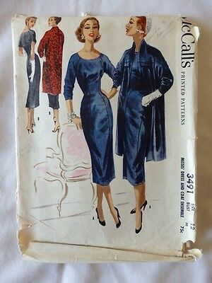 Vintage 1950s McCall's 3491 Sewing Pattern Dress & Coat Ensemble Size 12