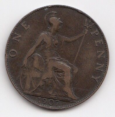 1907 One Penny Edwardvs VII nice coin Take a look 1