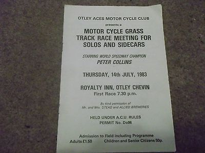Vintage Grass Track Programme @ Royalty Inn Otley Chevin 14 July 1983 P Collins