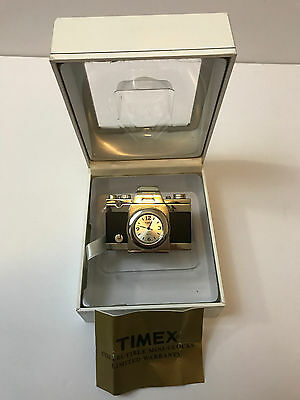 TIMEX COLLECTIBLE MINI-CLOCK SILVER 35mm CAMERA PHOTOGRAPHY IN ORIGINAL BOX