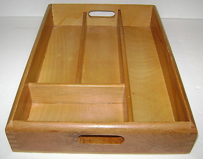 Vintage Dove Tail Wood Divided Tray Organizer Utensil Silverware Cutlery Romania