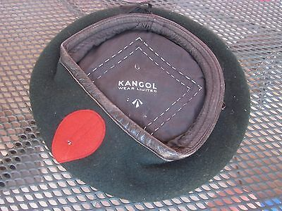 British Army Green Wool Kangol Beret with Red Flash, Broad Arrow Marked