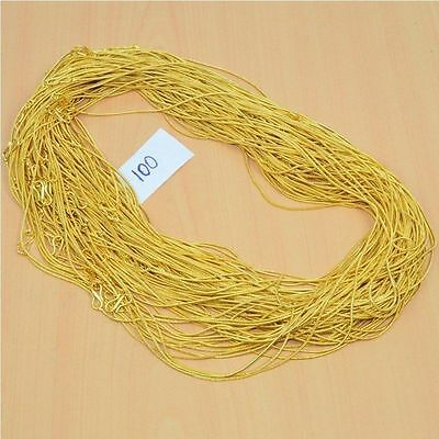 Wholesale 100Pc 24Ct Gold Overlay Plain Snake Chain Necklace Lot Length-22