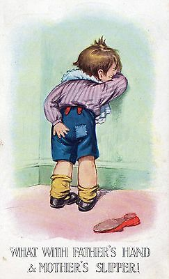 """Boy Spanked With Slipper Postcard """"what With Father's Hand And Mother's Slipper"""