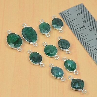 Wholesale Lot 10Pc 925 Silver Plated Green Emerald Connector Part