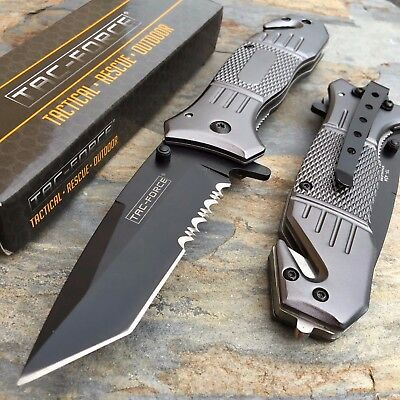 TAC FORCE Spring Assisted Aluminum Handle Hunting Tanto Blade Tactical Knife