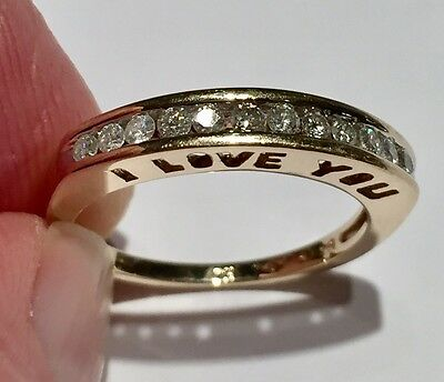 10k Yellow Gold & Channel Set Diamond I LOVE YOU RING Size 6.5