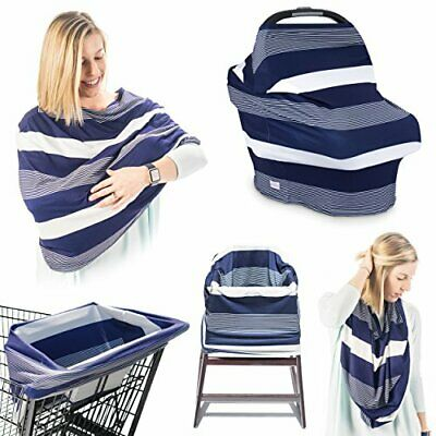 Premium 5-in-1 Breastfeeding Cover Up & Nursing Poncho/Baby Seat Cover (Navy/Whi