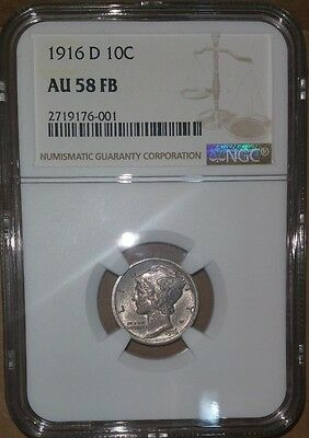1916-D Mercury Silver Dime NGC AU58 FB Full Bands 1 of 33!   Key Date!   RARE!