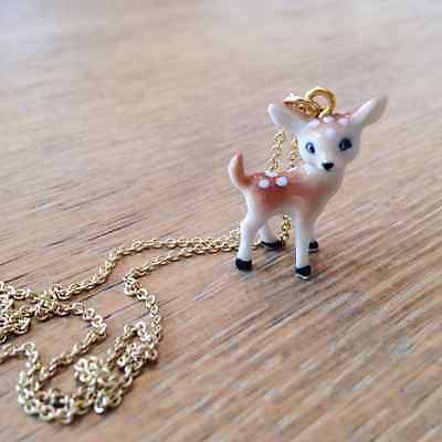 Miniature Porcelain Baby Deer Fawn Necklace Pendant Charm 24k Gold Plated Chain