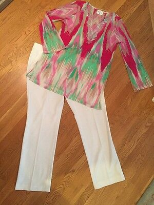 Women's 3 Pc Outfit: XL Top; 16 Jones NY White Pants; NWOT Jewelry Set. EUC!