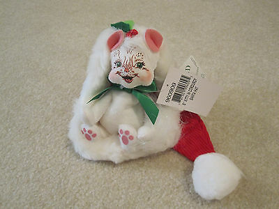 Annalee Kitty in corduroy santa hat 8 inches new with tags cat plush decor