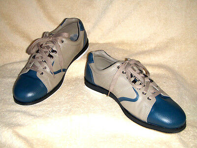 Brunswick mens Bowling shoes Visually NEW Leather Blue/Beige UK 13 EU 49 US 14