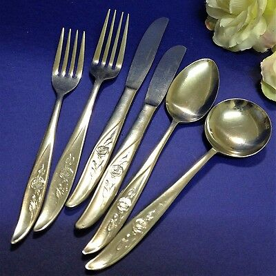 Vintage DSK Cutlery, Japan - 30 pce (5 person setting) Stainless Steel - Roses
