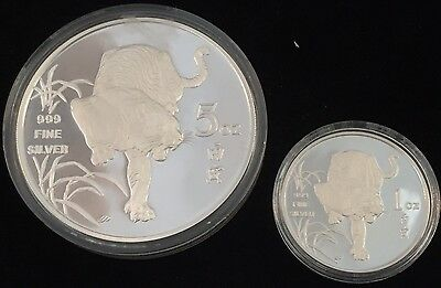 Lot/2 1986 Republic Of Singapore Year Of The Tiger 1 Oz & 5 Oz Encapsulated