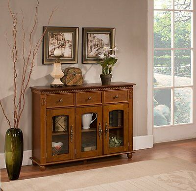 Kings Brand Furniture Wood with Glass Doors Console Sideboard Buffet Table with