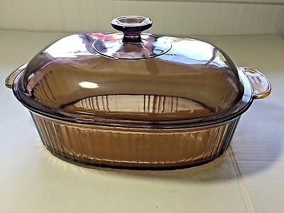 Visions 4 QT Amber Corning Pyrex Oval Dutch Oven Roaster Cookware Casserole