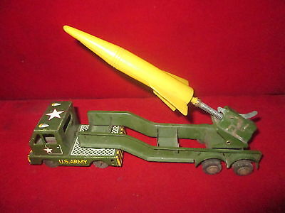 "Vintage Tin Toy Car ""car Military Porta Missil"" Friction Made In Japan Original"