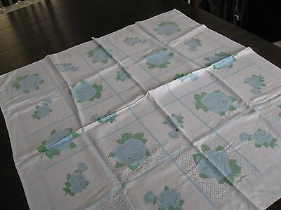 Lovely white vintage/retro  tablecloth with blue flowers  (39)
