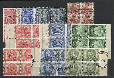 """AUSTRALIA  4 issues of the 1940's in """" FINE USED BLOCKS of 4  """" ."""