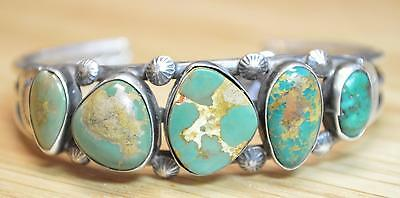 Old Pawn Green Turquoise Sterling Silver Bracelet Cuff 4295
