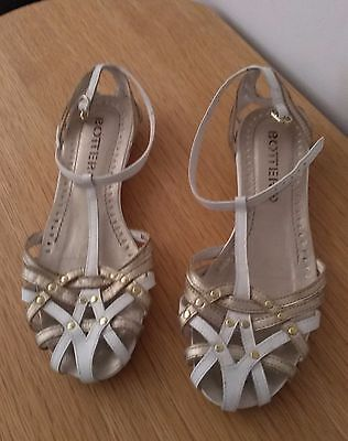 Ladies Botter White/gold Leather Sandals Size 38/5 Vgc