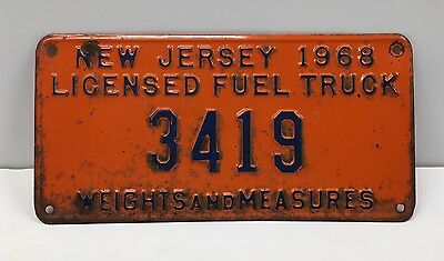 Vintage 1968 New Jersey Licensed Fuel Truck Weights and Measures License Plate